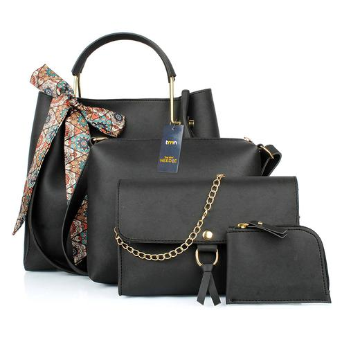 TMN - Mini Needle Combo Of Black Ribbon Handbag With Sling Bag And Golden Chain Bag And Coin  Pouch
