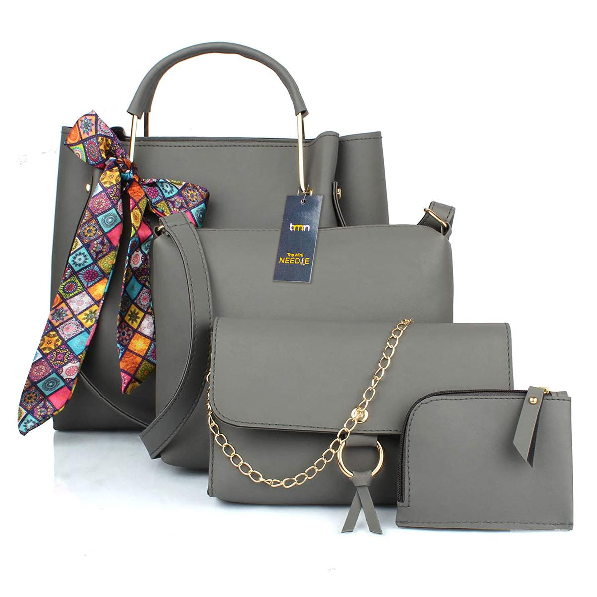 TMN - Mini Needle Combo Of Grey Ribbon Handbag With Sling Bag And Golden Chain Bag And Coin  Pouch