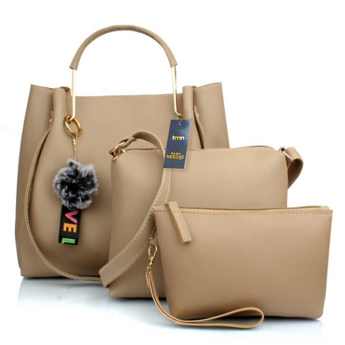 TMN - Cream Combo Of Handbag With Sling Bag And Cosmetic Pouch