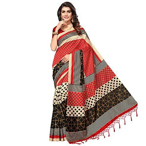 Multicolored Festive Wear Printed Mysore Art Silk Saree