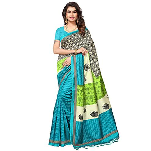 Firozi Colored Festive Wear Printed Mysore Art Silk Saree