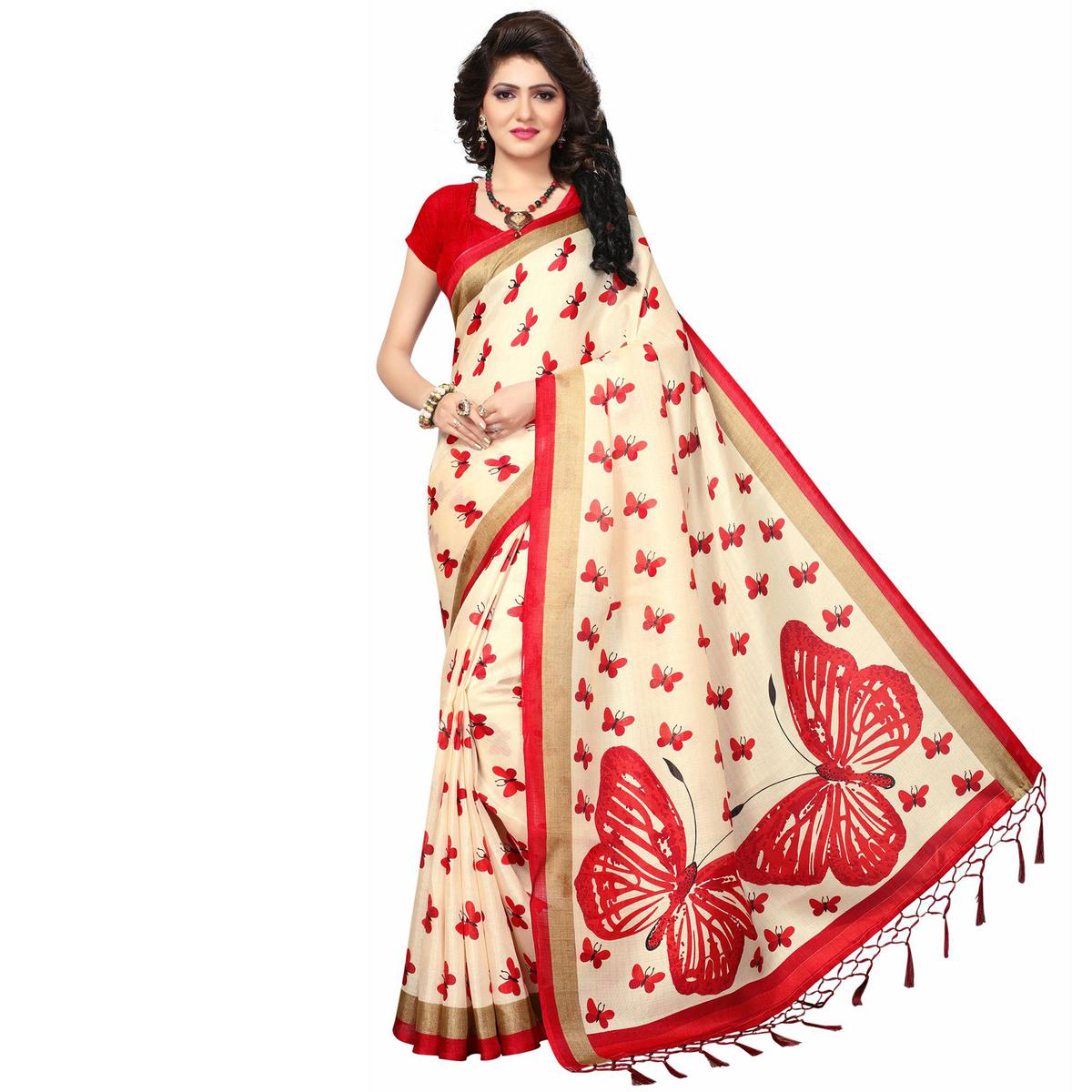 Cream - Red Casual Printed Khadi Silk Saree With Tassels