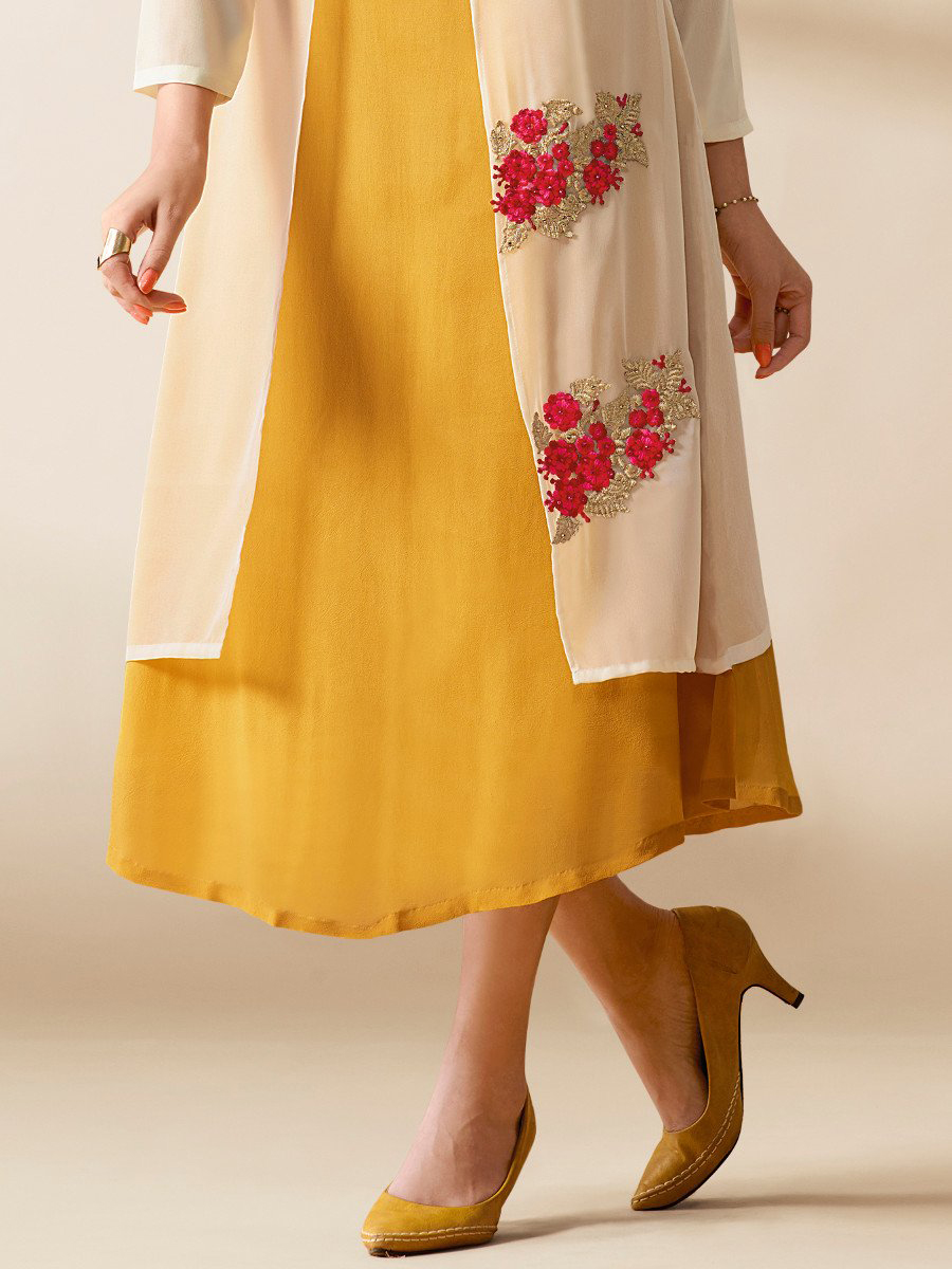 Cream - Yellow Georgette Fancy Layered Kurti