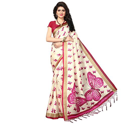 Cream - Pink Casual Printed Khadi Silk Saree With Tassels