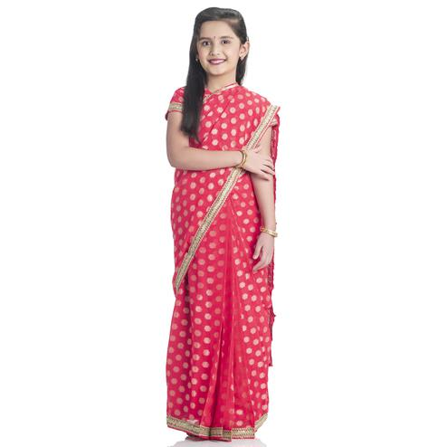Bhartiya Paridhan - Girls Ready To Wear Stitched 6 Yard Aboli Red Saree With Stitched Blouse