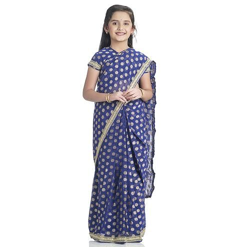 Bhartiya Paridhan - Girls Ready To Wear Stitched 6 Yard Navy Blue Saree With Stitched Blouse