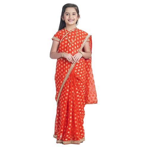 Bhartiya Paridhan - Girls Ready To Wear Stitched 6 Yard Orange Saree With Stitched Blouse