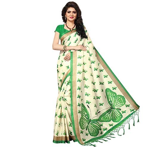 Cream - Green Casual Printed Khadi Silk Saree With Tassels