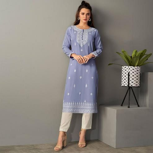 Captivating Lavendar Colored Casual Wear Embroidered Pure Rayon Viscose Kurti