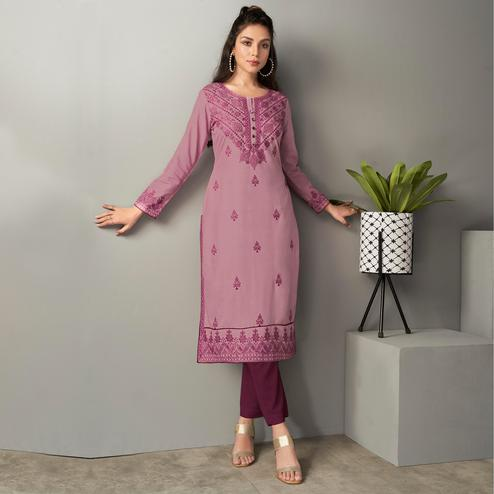 Eye-catching Purple Colored Casual Wear Embroidered Pure Rayon Viscose Kurti
