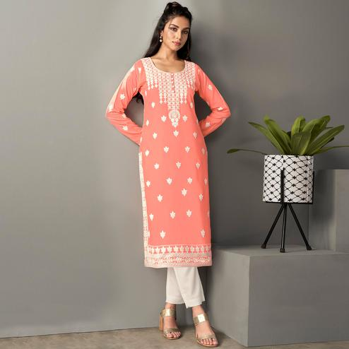 Fantastic Peach Colored Casual Wear Embroidered Pure Rayon Viscose Kurti