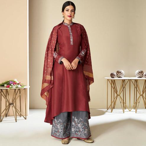 Amazing Maroon Colored Partywear Embroidered Pure Muslin Silk Palazzo Suit With Dupatta