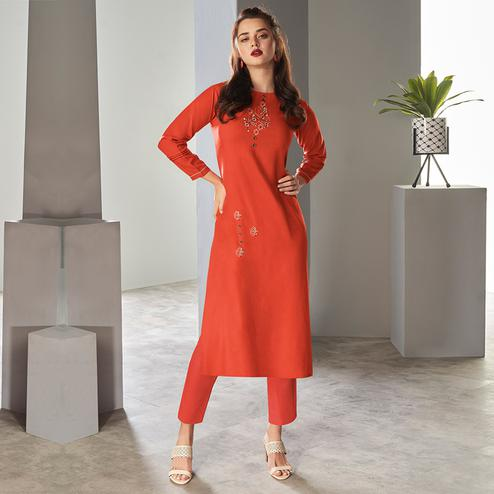 Adorable Rust Orange Colored Partywear Embroidered Pure Viscose Kurti With Pant
