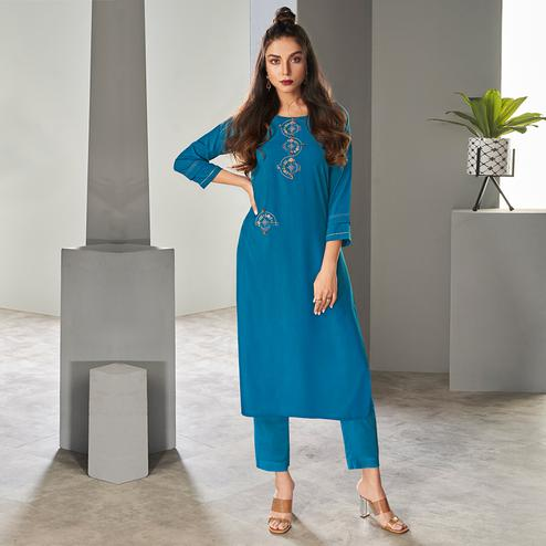 Glorious Blue Colored Partywear Embroidered Pure Viscose Kurti With Pant