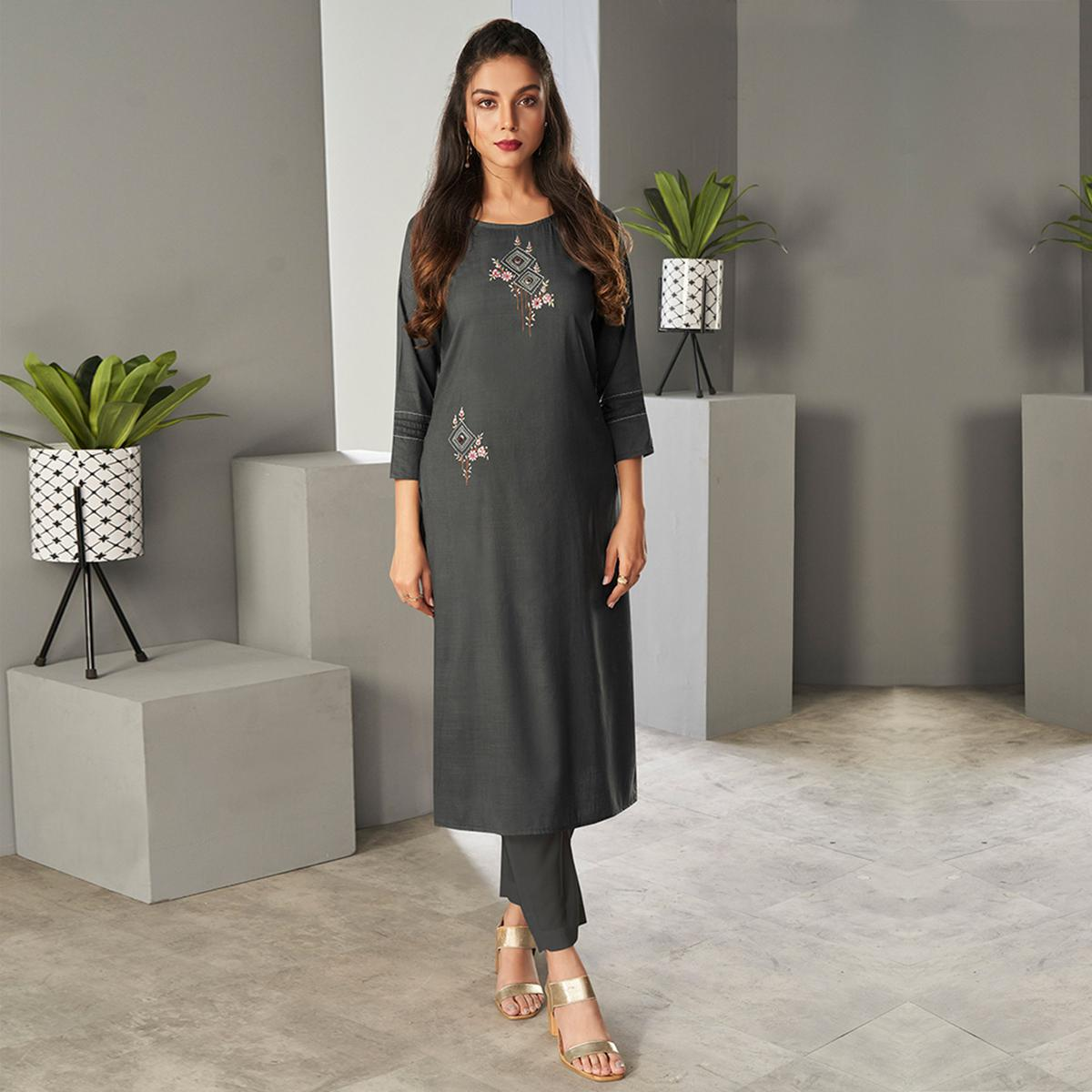 Attractive Dark Grey Colored Partywear Embroidered Pure Viscose Kurti With Pant