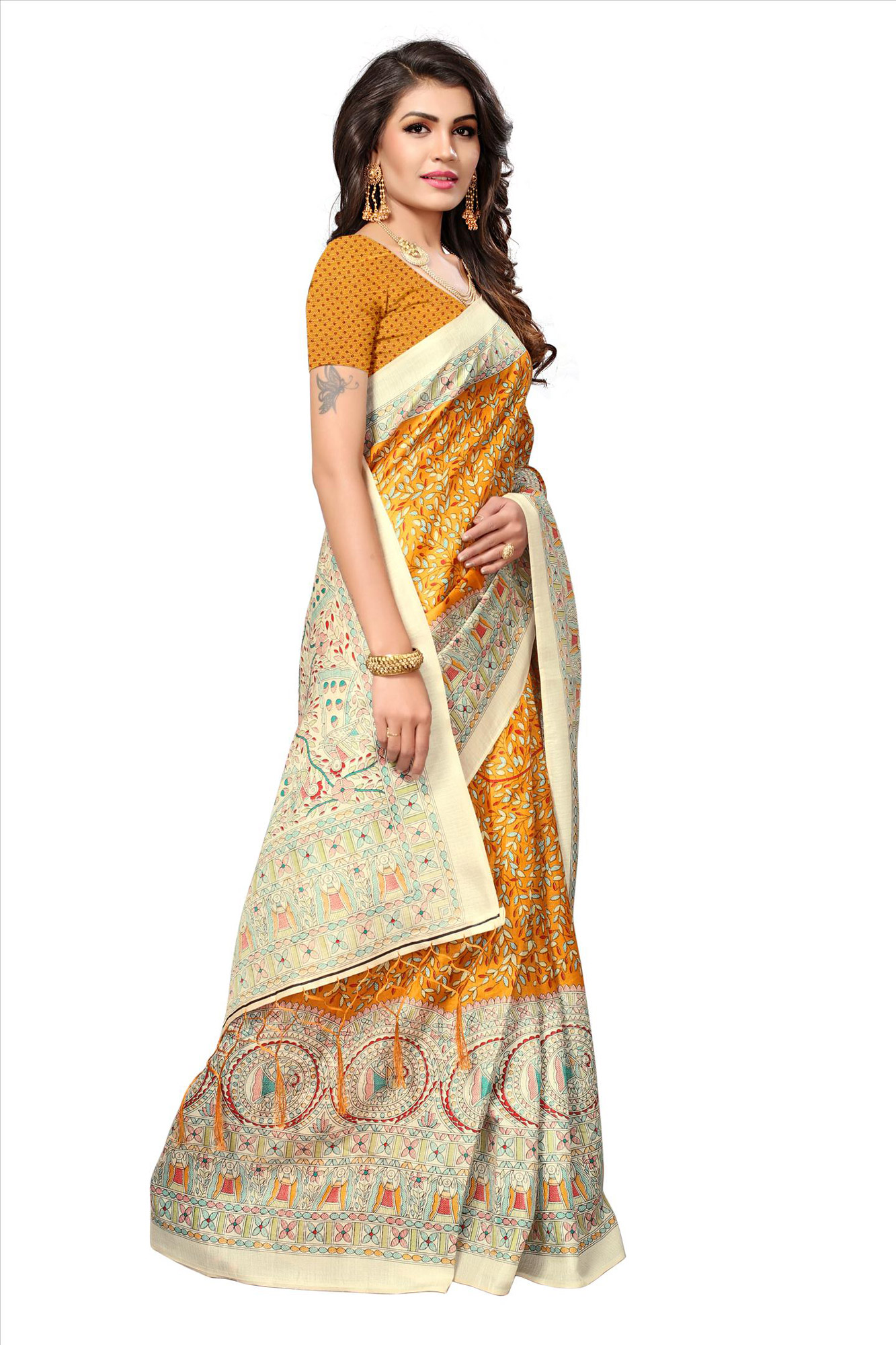 Orange - Beige Casual Printed Khadi Silk Saree With Tassels