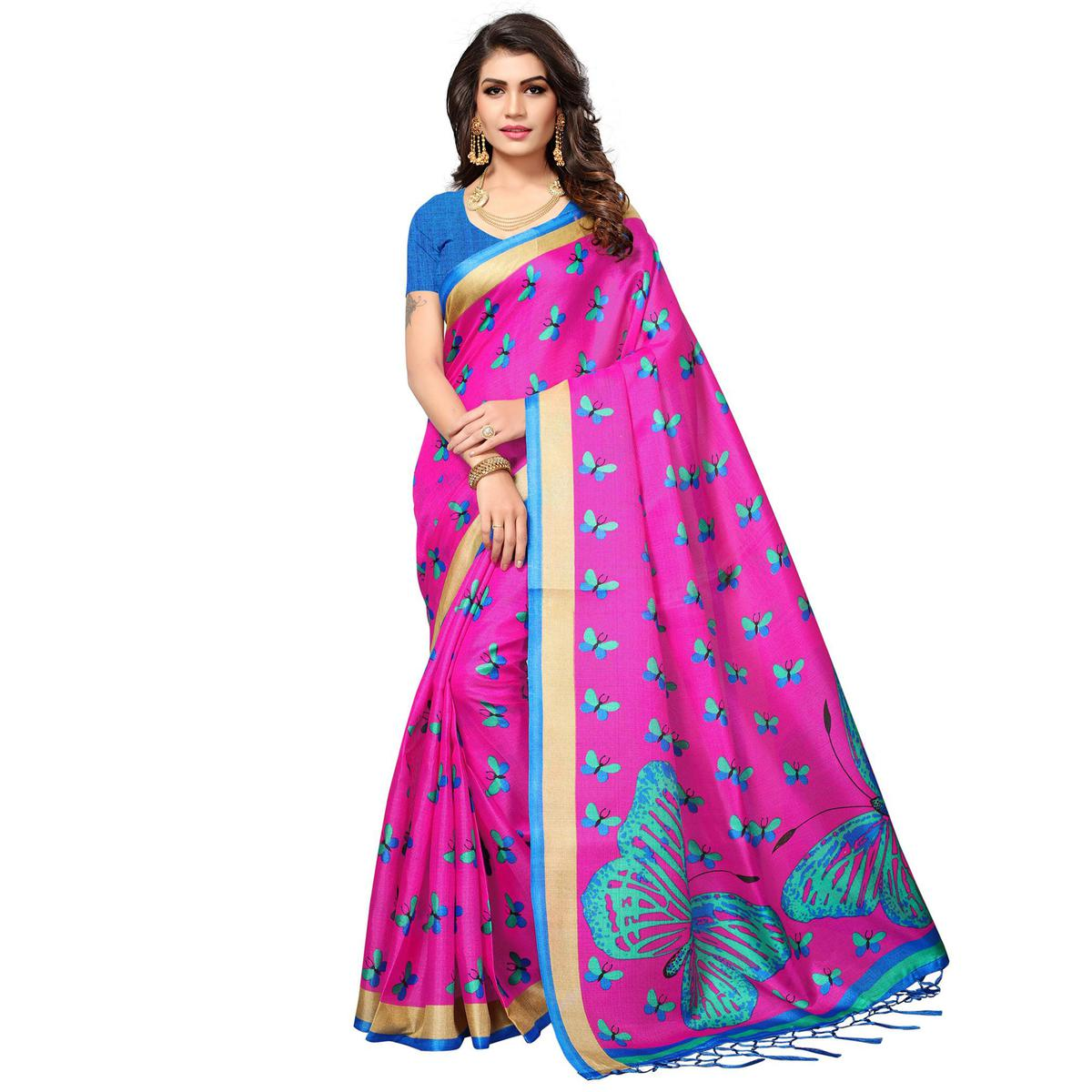 Pink Casual Printed Khadi Silk Saree With Tassels