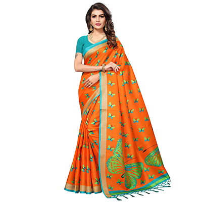 Orange Casual Printed Khadi Silk Saree With Tassels