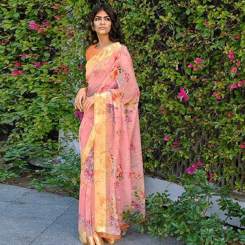 Eye-catching Peach Colored Party Wear Digital Printed Linen Saree