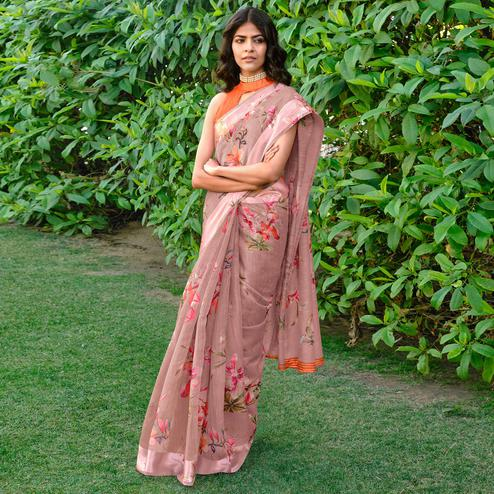 Amazing Light Pink Colored Party Wear Digital Printed Linen Saree