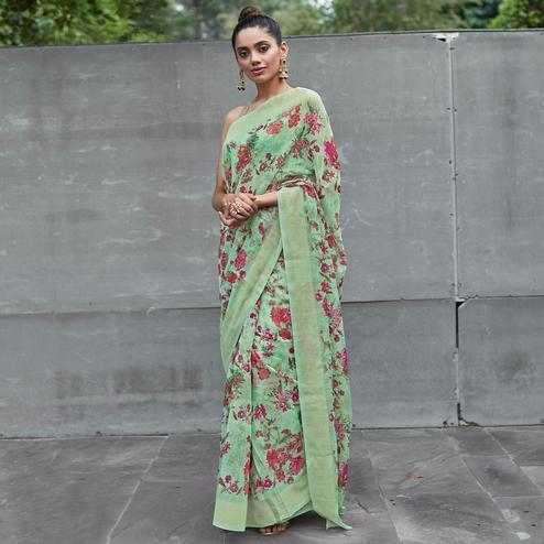 Blissful Green Colored Party Wear Digital Printed Linen Saree