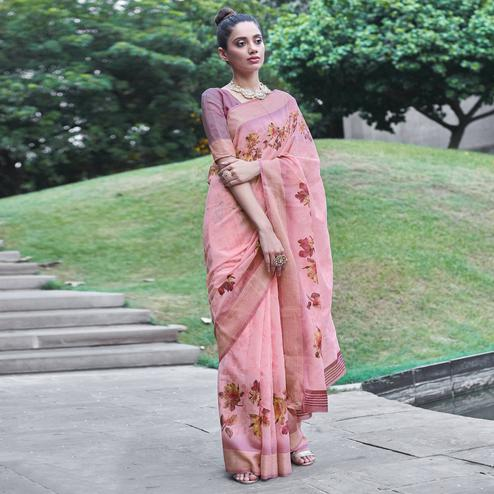 Gorgeous Pink Colored Party Wear Digital Printed Linen Saree