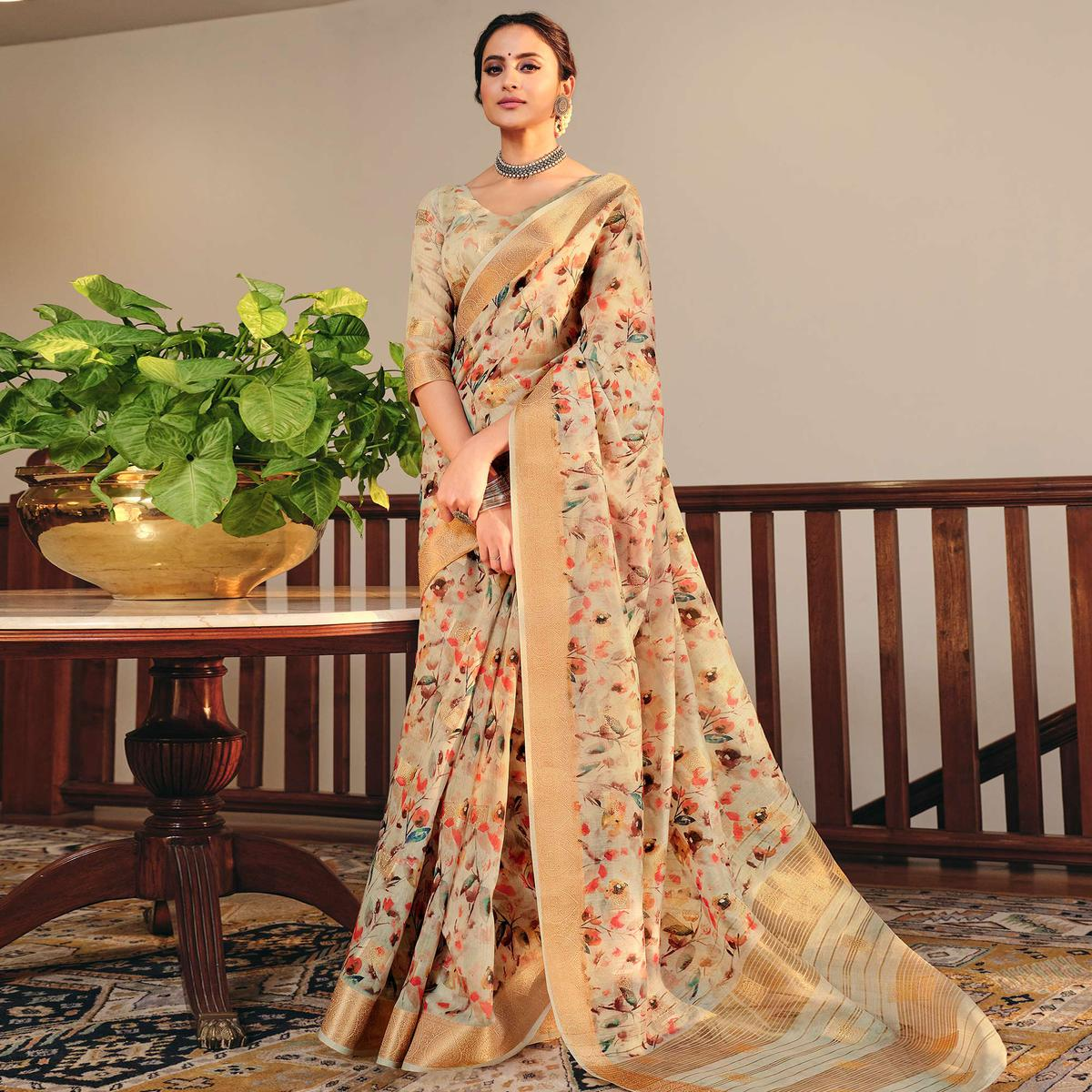 Lovely Beige Colored Party Wear Digital Printed Linen Saree