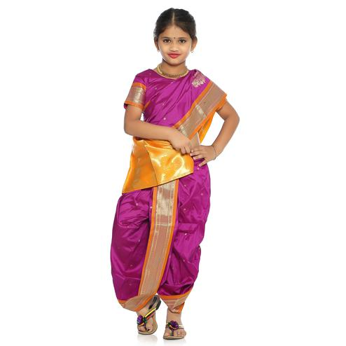 Bhartiya Paridhan - Girls Stitched Traditional Majenta Cotton Silk Nauwar (9 Yard) Saree With Stitched Blouse