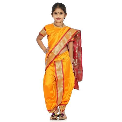 Bhartiya Paridhan - Girls Stitched Traditional Orange Cotton Silk Nauwar (9 Yard) Saree With Stitched Blouse