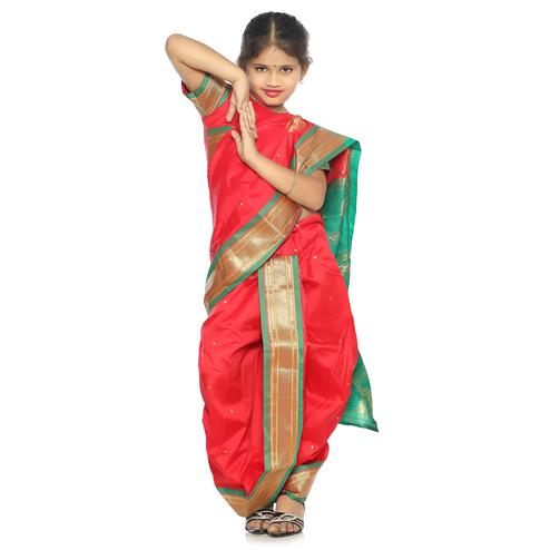 Bhartiya Paridhan - Girls Stitched Traditional Red Cotton Silk Nauwar (9 Yard) Saree With Stitched Blouse