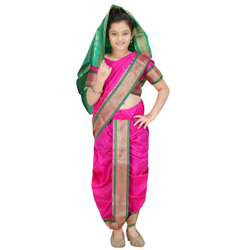 Bhartiya Paridhan - Girls Stitched Traditional Pink Cotton Silk Nauwar (9 Yard) Saree With Stitched Blouse