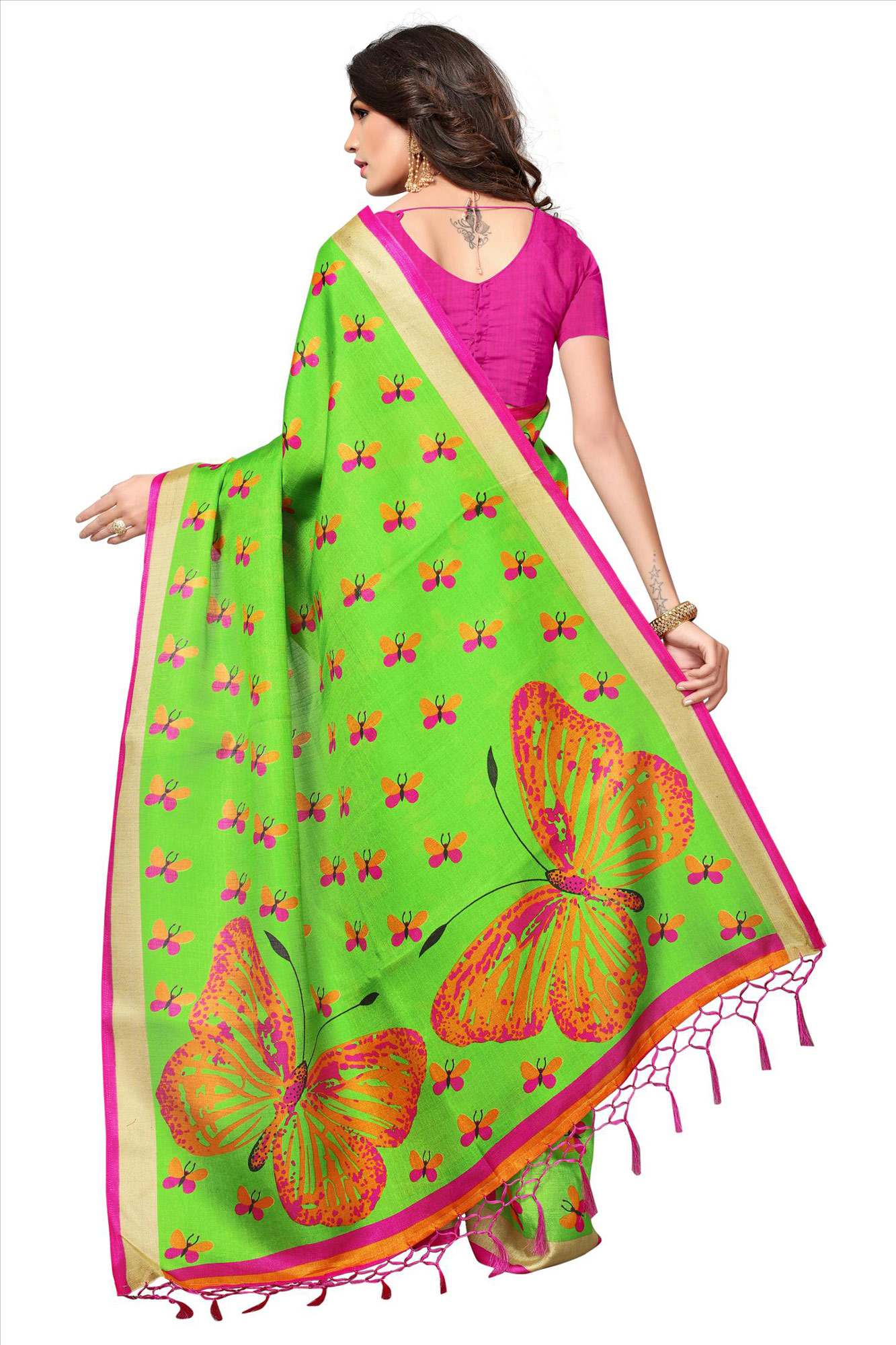Light Green Casual Printed Khadi Silk Saree With Tassels