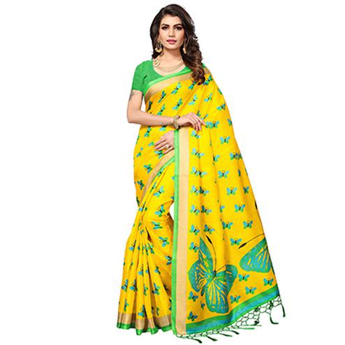 Yellow Casual Printed Khadi Silk Saree With Tassels