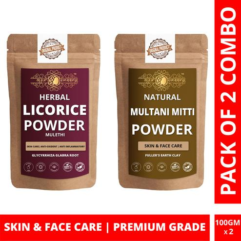 Ayur Blessing - Licorice and Multani Mitti Powder Combo Pack, For Face Pack and Skin Care , Pack of 2 (100 Gram * 2)