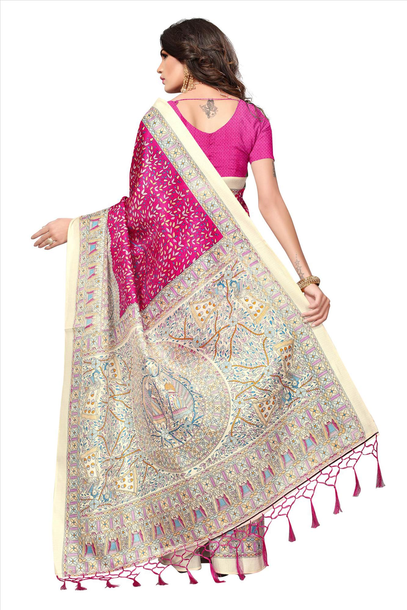 Pink - Beige Casual Printed Khadi Silk Saree With Tassels