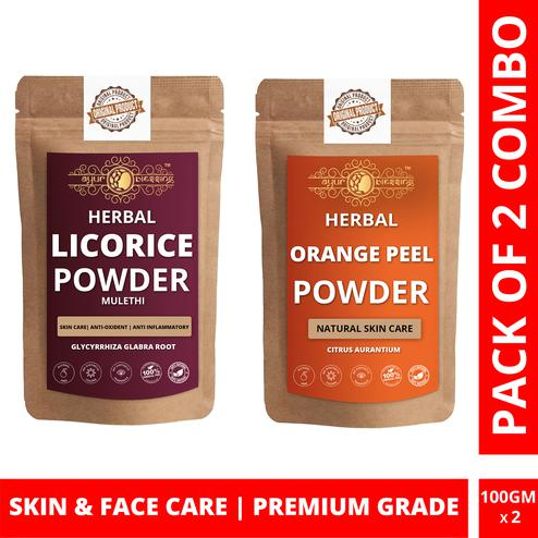 Ayur Blessing - Licorice and Orange Peel Powder Combo Pack, For Face Pack and Skin Care , Pack of 2 (100 Gram * 2)