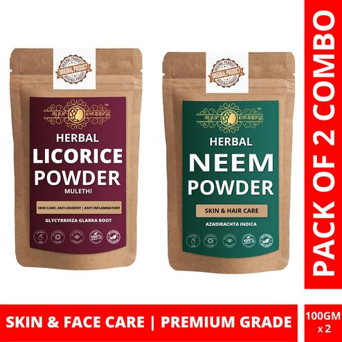 Ayur Blessing - Licorice and Neem Powder Combo Pack, For Face Pack and Skin Care , Pack of 2 (100 Gram * 2)