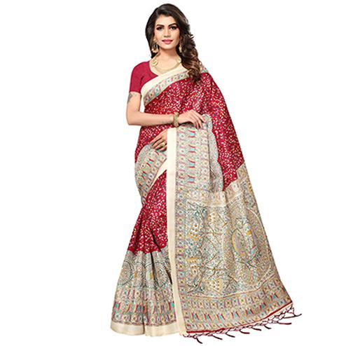 Red - Beige Casual Printed Khadi Silk Saree With Tassels