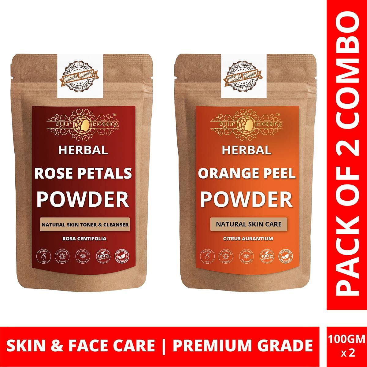 Ayur Blessing - Rose Petals and Orange Peel Powder Combo Pack, For Face Pack and Skin Care , Pack of 2 (100 Gram * 2)