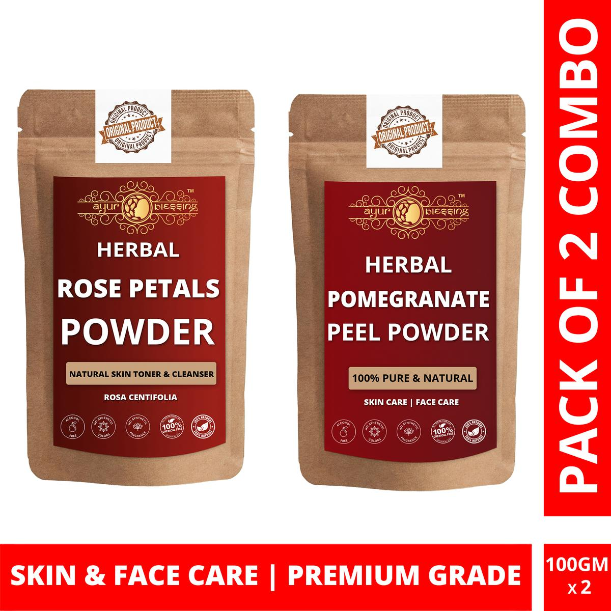 Ayur Blessing - Rose Petals and Pomegranate Peel Powder Combo Pack, For Face Pack and Skin Care , Pack of 2 (100 Gram * 2)