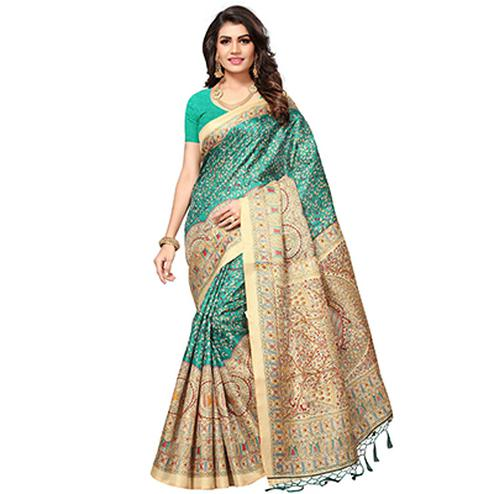 Rama Green - Beige Casual Printed Khadi Silk Saree With Tassels