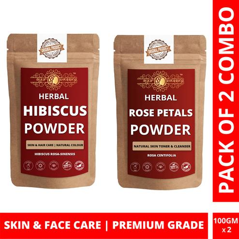 Ayur Blessing - Hibiscus and Rose Petals Powder Combo Pack, For Face Pack and Skin Care , Pack of 2 (100 Gram * 2)