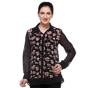 Black Colored Cotton Floral Printed Top