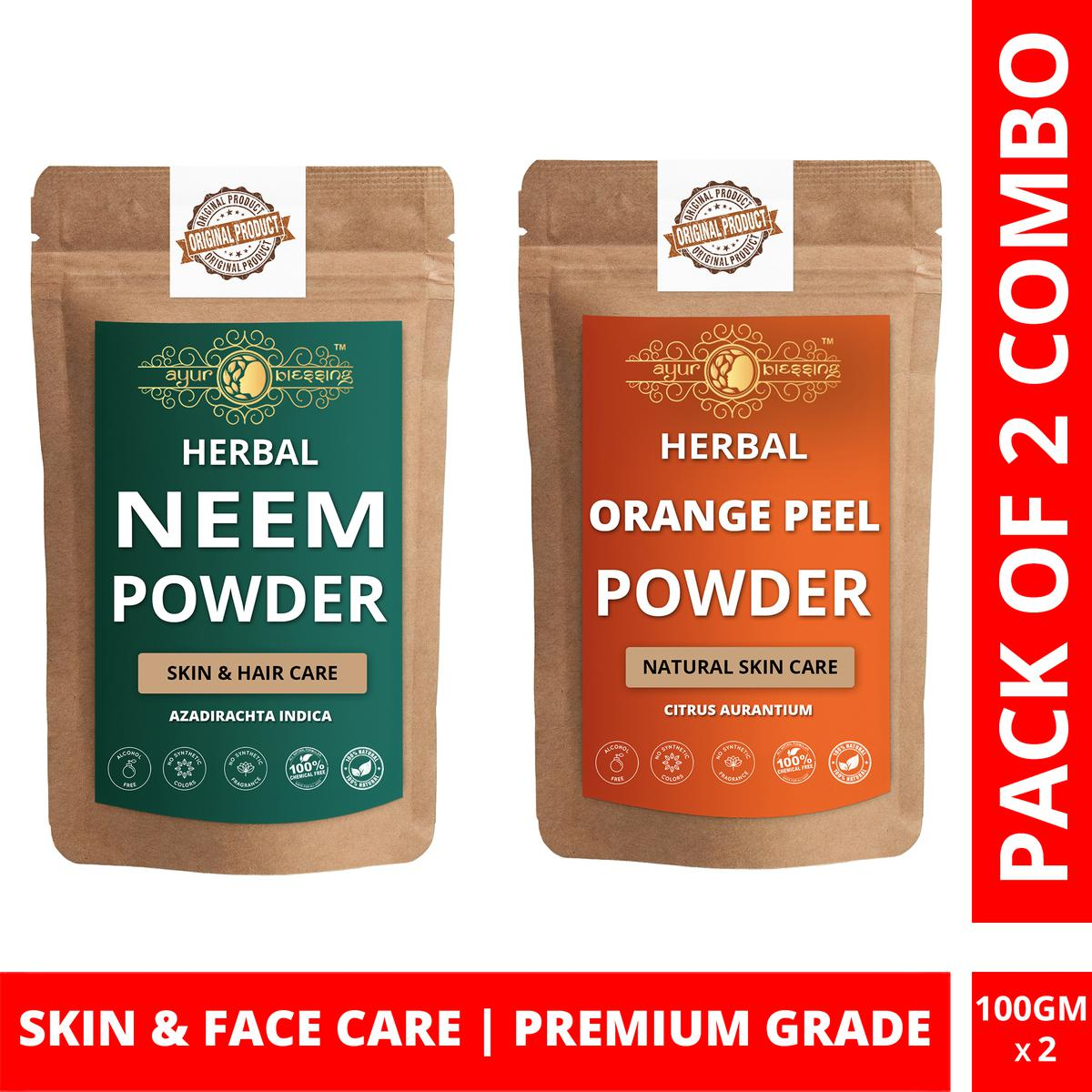 Ayur Blessing - Neem and Orange Peel Powder Combo Pack, For Face Pack and Skin Care , Pack of 2 (100 Gram * 2)
