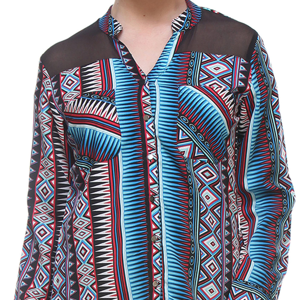 Black Colored Cotton Tribal Print Top
