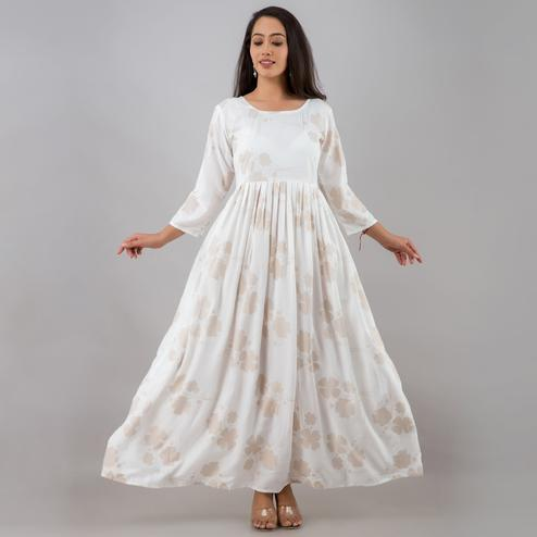 Zyla - Mialo White Colored Printed Anarkali Rayon Kurta