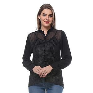 Black Colored Cotton Printed Shirt