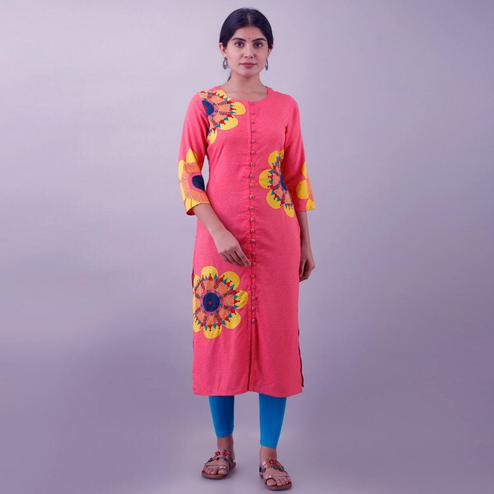 Captivating Pink Colored Casual Wear Embroidered Muslin Kurti