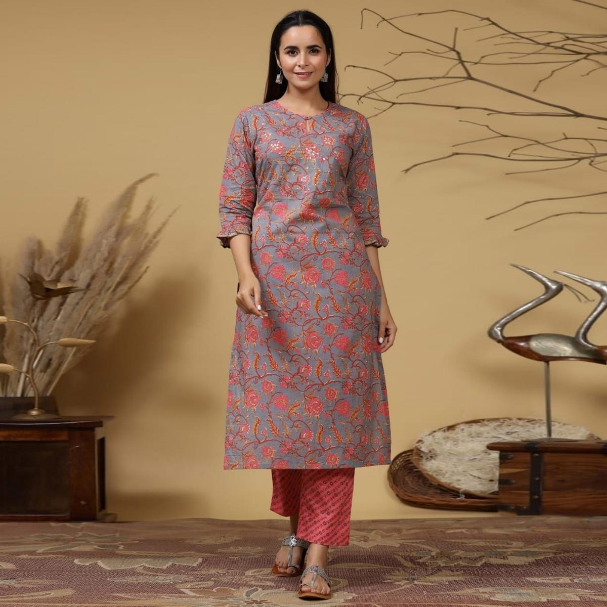 Innovative Grey Colored Casual Wear Printed Cotton Kurti With Palazzo