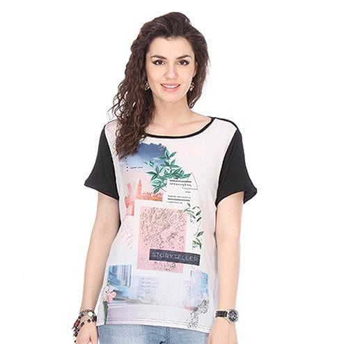 Off-White Colored Chiffon Printed Top